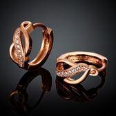耳環 玫瑰金純銀 鑲鑽-閃耀經典氣質鏤空生日情人節禮物女飾品2色73bu18【時尚巴黎】