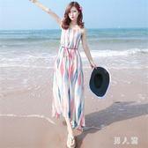 中大尺碼沙灘裙女新款吊帶雪紡波西米亞長裙顯瘦露肩洋裝 zm5097『男人範』
