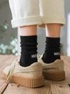 襪子 春秋堆堆襪子女純棉ins潮韓國日系純色韓版高腰秋冬黑色長中筒襪 薇薇