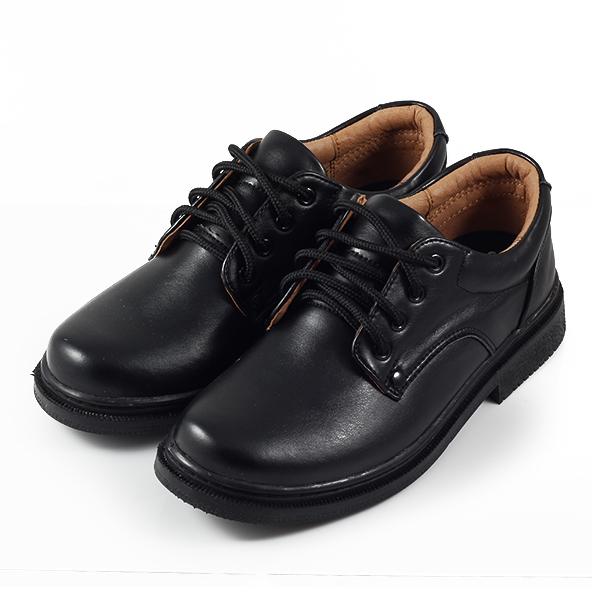 皮裡綁帶學生鞋 黑 女鞋 鞋全家福