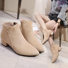 裸靴 短靴女秋冬新款黑色高跟靴加絨馬丁靴粗跟尖頭平跟女靴子 - 古梵希