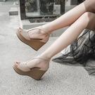厚底涼鞋 2021新款高跟坡跟涼鞋女魚嘴夏季性感百搭韓版裸色防水臺鬆糕厚底