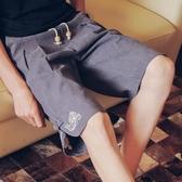 短褲 小伙夏季男士短褲寬鬆直筒褲子休閒褲潮中國風沙灘褲個性 莎瓦迪卡