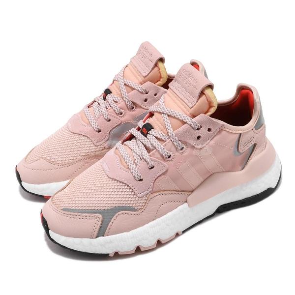 adidas 休閒鞋 Nite Jogger W 粉紅 白 女鞋 Boost 中底 運動鞋 3M反光 【PUMP306】 EE5915
