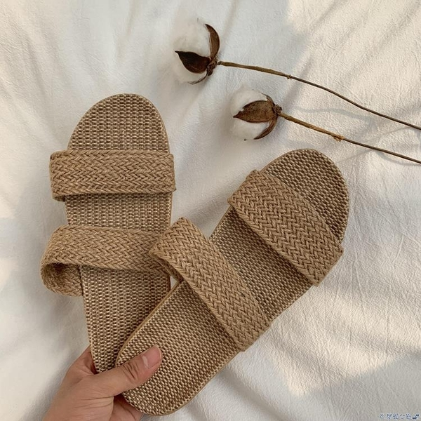 草編鞋 ins網紅草編拖鞋 泰國風手工亞麻涼拖鞋夏季外穿 民族風小清新 快速出貨