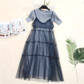 2018夏季新款中長款圓領短袖t恤 網紗蕾絲吊帶連身裙兩件套裝女潮 溫暖享家