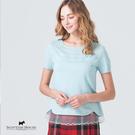 胸前與下擺拼接烏干紗設計針織上衣 【AE1459】