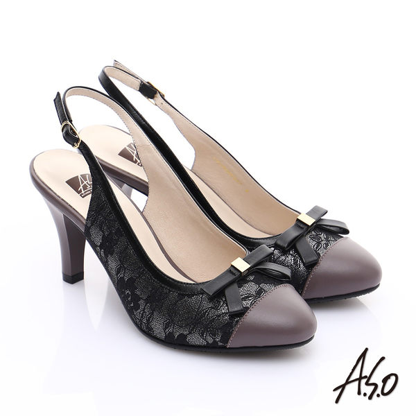 A.S.O 輕透美型 牛皮拼接蕾絲蝴蝶結飾繫帶高跟涼鞋 灰
