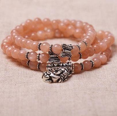 橙色月光石佛珠手鏈 搭配銀