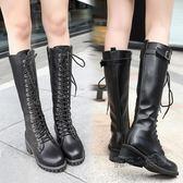 長靴女季韓版方跟機車靴子黑色百搭粗跟高筒靴騎士靴潮  『魔法鞋櫃』