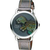Coach 侏羅紀 rexy 恐龍逗趣手錶-暴龍綠x灰/36mm CO14502876
