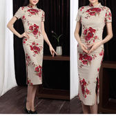 棉麻印花民族風日常中長款旗袍小洋裝女棉質大碼祺袍