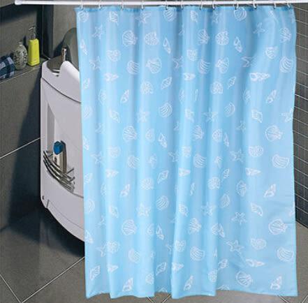 藍貝殼浴簾 加厚防水防霉特殊尺寸可訂做【藍星居家】