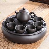 茶盤 茶盤紫砂功夫茶具套裝現代家用簡約圓形茶盤泡茶整套潮汕陶瓷茶壺茶杯