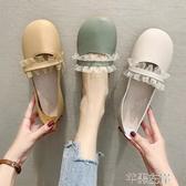 新品娃娃鞋軟底豆豆鞋女秋圓頭可愛大頭娃娃鞋平底奶奶鞋一腳蹬單鞋 芊墨左岸