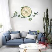 歐式田園小鳥掛鐘美式創意靜音鐘錶客廳臥室時鐘現代簡約裝飾掛錶【無敵3C旗艦店】