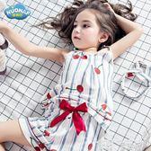睡衣 女童睡衣夏季套裝薄款空調兒童家居服寶寶公主中大童純棉親子母女 童趣屋