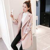 毛呢外套新款韓版中長款加厚呢子大衣潮刺繡燈籠袖收腰毛呢外套女「爆米花」