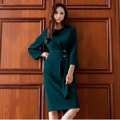 OL洋裝 2020秋裝新款OL通勤職業女裝圓領長袖中長款束腰顯瘦包臀連身裙