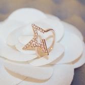 戒指 玫瑰金純銀 鑲鑽-璀璨耀眼生日情人節禮物女飾品73by56[時尚巴黎]