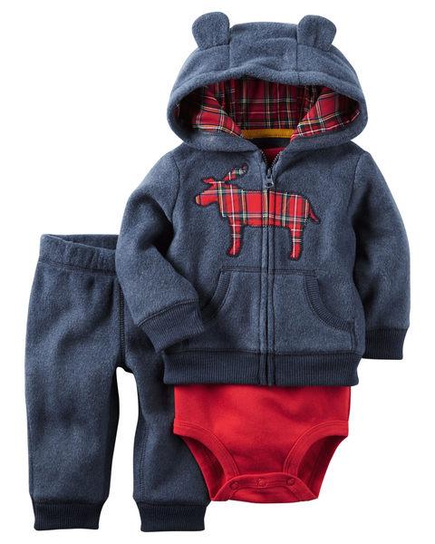 【美國Carter's】套裝三件組-小麋鹿連帽保暖外套+短袖純棉包屁衣+保暖長褲 121H013