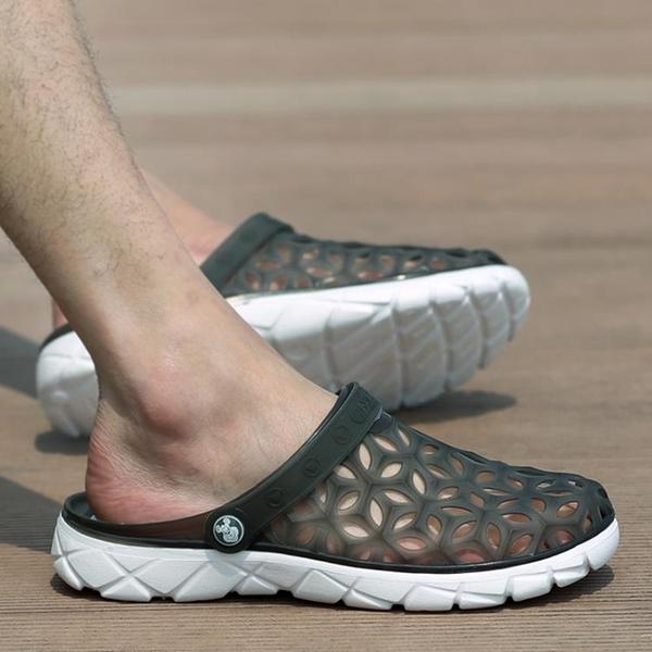夏季時尚洞洞鞋男拖鞋沙灘鞋2020新款潮流學生半拖鞋包頭涼鞋韓版 3C優購