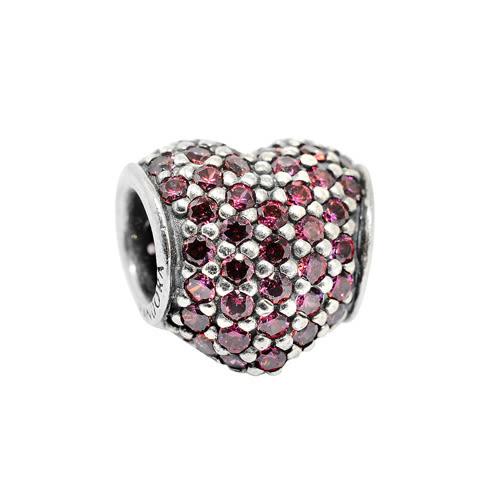 Pandora 潘朵拉 心型紅鑽 純銀墜飾 串珠