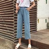 夏季港味復古chic寬鬆百搭七分牛仔褲