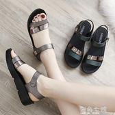 厚底涼鞋新款夏季平底女鞋中年中老年厚底楔形女士百搭厚底中跟媽媽鞋涼鞋 海角七號