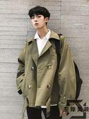 風衣外套短版秋季新款工裝男士百搭休閒寬鬆夾克外套【左岸男裝】
