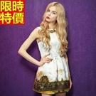 無袖洋裝優雅復古-華美釘珠宮廷印花連身裙女裝韓洋裝67m5【巴黎精品】