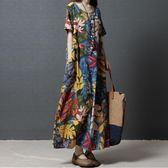 【春季上新】2019夏季新款復古文藝民族風女裝寬鬆大碼印花長裙短袖棉麻連身裙
