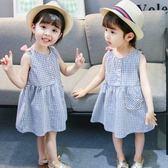 女童連衣裙2018新款 韓版 夏季2女寶寶3全棉4公主裙5洋氣6格子裙7