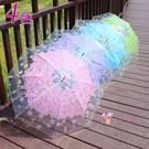 長柄傘 櫻花透明雨傘日系小清新長柄傘韓版學生傘男女創意廣告雨傘舞蹈傘T