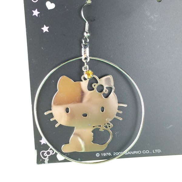 【震撼精品百貨】Hello Kitty 凱蒂貓~造型耳環-側坐圓圈造型