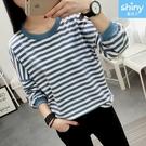 【V3173】shiny藍格子-秋味時分.條紋圓領寬鬆長袖上衣