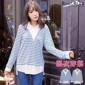 竹節棉--輕柔俐落層次感穿搭大V領橫條紋襯衫假兩件長版上衣(黑.藍XL-4L)-A272眼圈熊中大尺碼