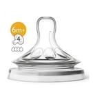 【PHILIPS AVENT】親乳感防脹氣奶嘴雙入裝 快流量 6M+四號嘴 SCF654/23