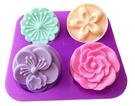 心動小羊^^日本康乃馨、櫻花、梅花四孔月餅模4孔4連皂模矽膠手工皂模布丁巧克力香皂模具