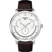 TISSOT 天梭 Tradition 逆跳復刻經典手錶-白 T0636371603700