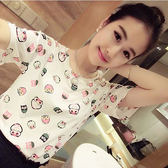 (全館一件免運)DE SHOP~(T-9520)貓頭鷹圖案短袖T恤