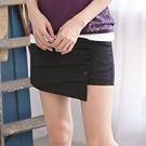 褲裙--獨特剪裁韓版不對稱設計斜釦壓摺設...