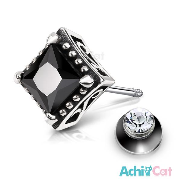 AchiCat 925純銀栓扣後鎖式耳環抗過敏復古方形兩面皆可戴(黑鋯大墜)GS7055