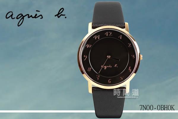 【時間道】[agnes b。錶]法式簡約時尚風情腕錶/黑面玫瑰金殼黑皮(7N00-0BH0K/BG4009P1)免運費