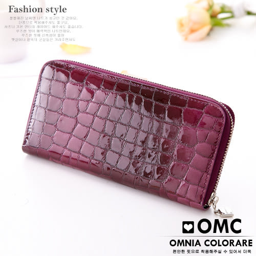 OMC - 真皮歐式浪漫壓紋果凍皮質感長夾 - 漸層深紫