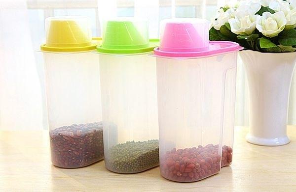 五穀雜糧儲物罐乾貨收納罐 塑料防潮密封罐廚房儲物盒2.5L (2盒)