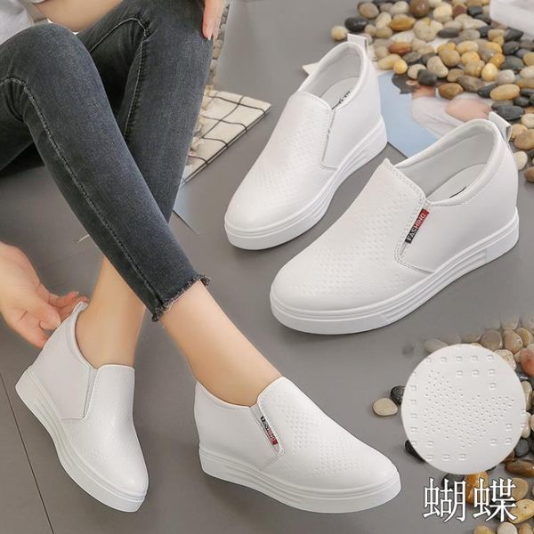 增高鞋 內增高樂福鞋單鞋一腳蹬女鞋2019春季新款鞋子高跟厚底休閒鞋百搭 MKS霓裳細軟