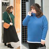 Miss38-(現貨)【A11092】大尺碼針織上衣 高領純色毛衣 保暖長袖 內搭打底 百搭 - 中大尺碼女裝