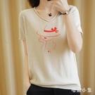 棉麻短袖T恤夏裝2020新款女寬鬆V領針織衫打底棉針織半袖大碼時尚 LR24168『毛菇小象』