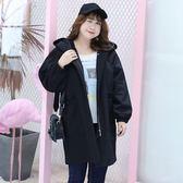 中大尺碼~連帽大口袋裝飾風衣外套(XL~4XL)